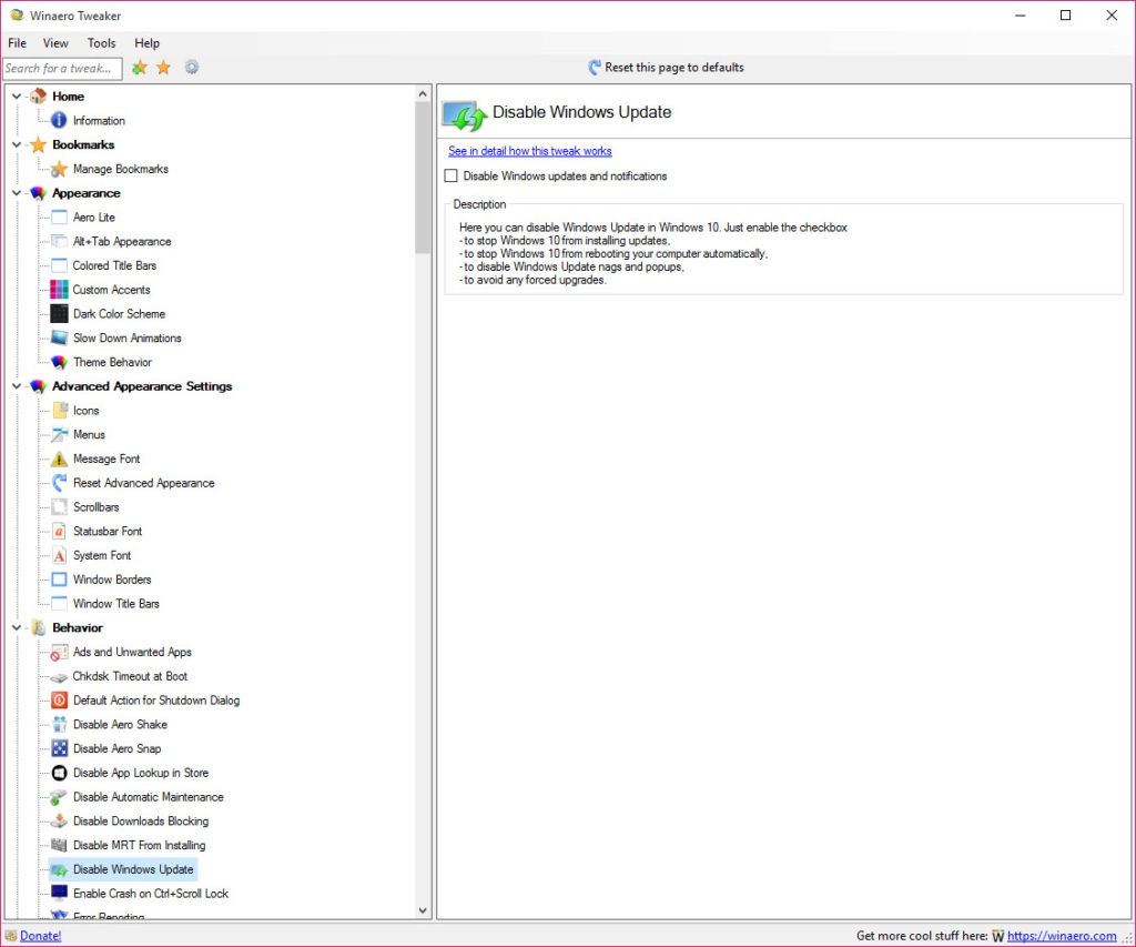 Winaero Tweaker 01210 Free Download For Windows 10 8 And 7