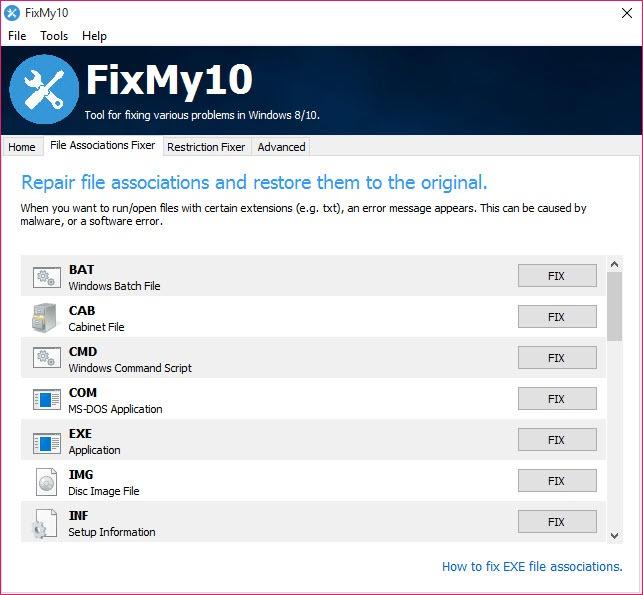 FixMy10 2 1 2 Free Download for Windows 10 - FileCroco com